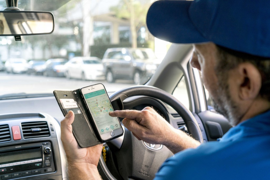 driver checking phone